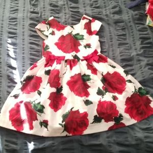 Short sleeved white and red rose dress